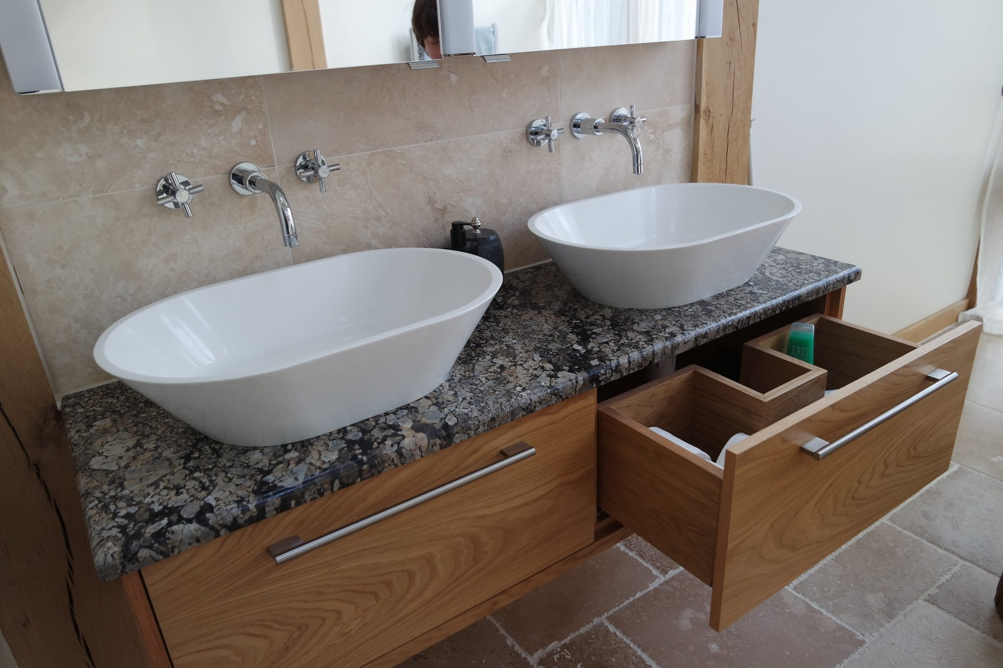 Double sink bespoke Oak vanity unity