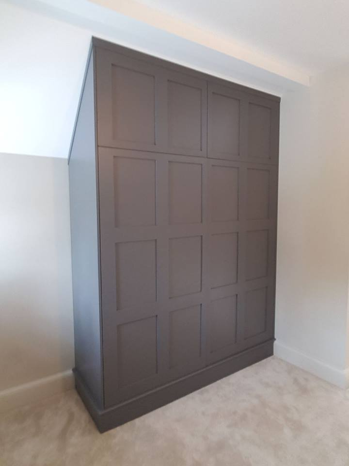 Panelled bespoke wardrobe hand painted with #LIttleGreenePaintCompany